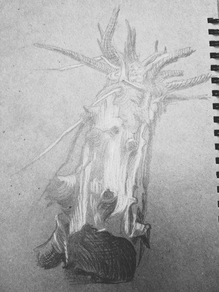 Карандашный рисунок. Упавшее дерево