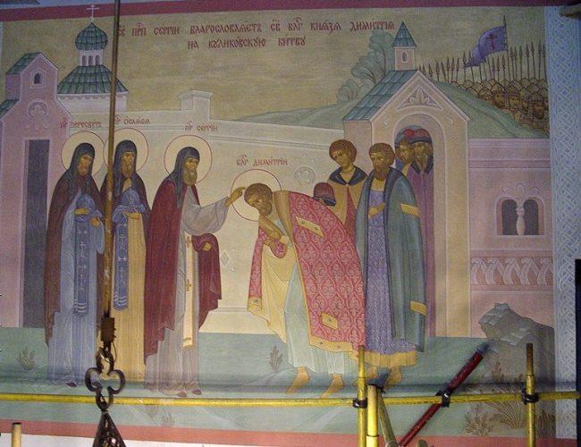 Роспись силикатными красками. Церковь Сергия Радонежского в Крапивниках.